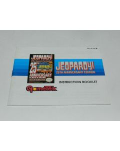 Jeopardy 25th Anniversary Nintendo NES Video Game Manual Only